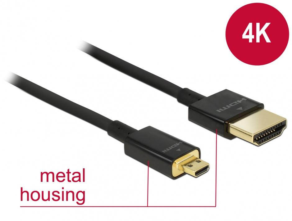 Imagine Cablu HDMI la micro HDMI-D T-T 3D 4K 0.5m Slim Premium, Delock 84788
