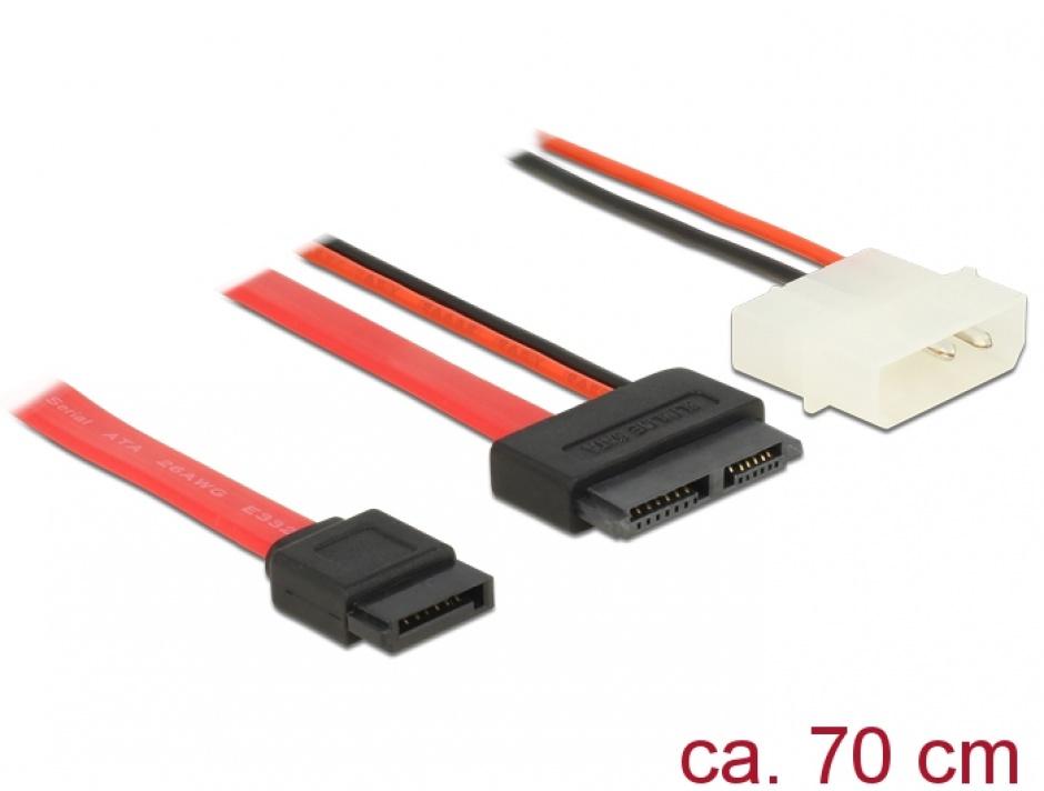 Imagine Cablu Slim SATA la SATA 7 pini + 2 pini alimentare M-T 70cm, Delock 84791