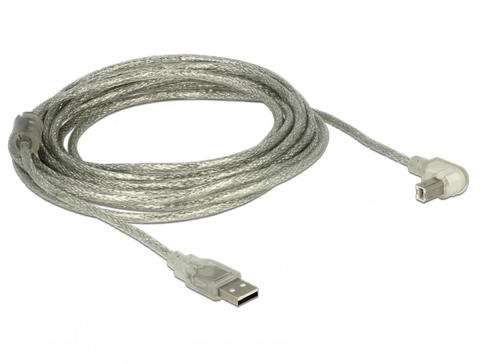 Imagine Cablu USB 2.0 tip A-B T-T unghi 5m transparent, Delock 84816