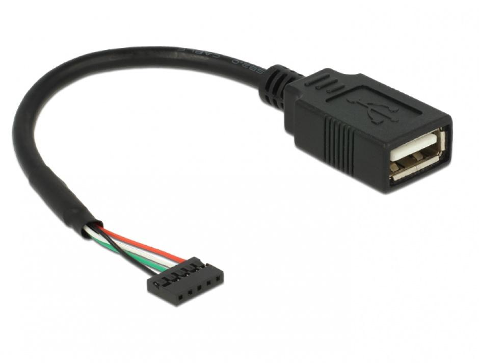 Imagine Cablu USB 2.0 pin header 2.00 mm 5 pini la USB 2.0-A M-M 15cm, Delock 84831