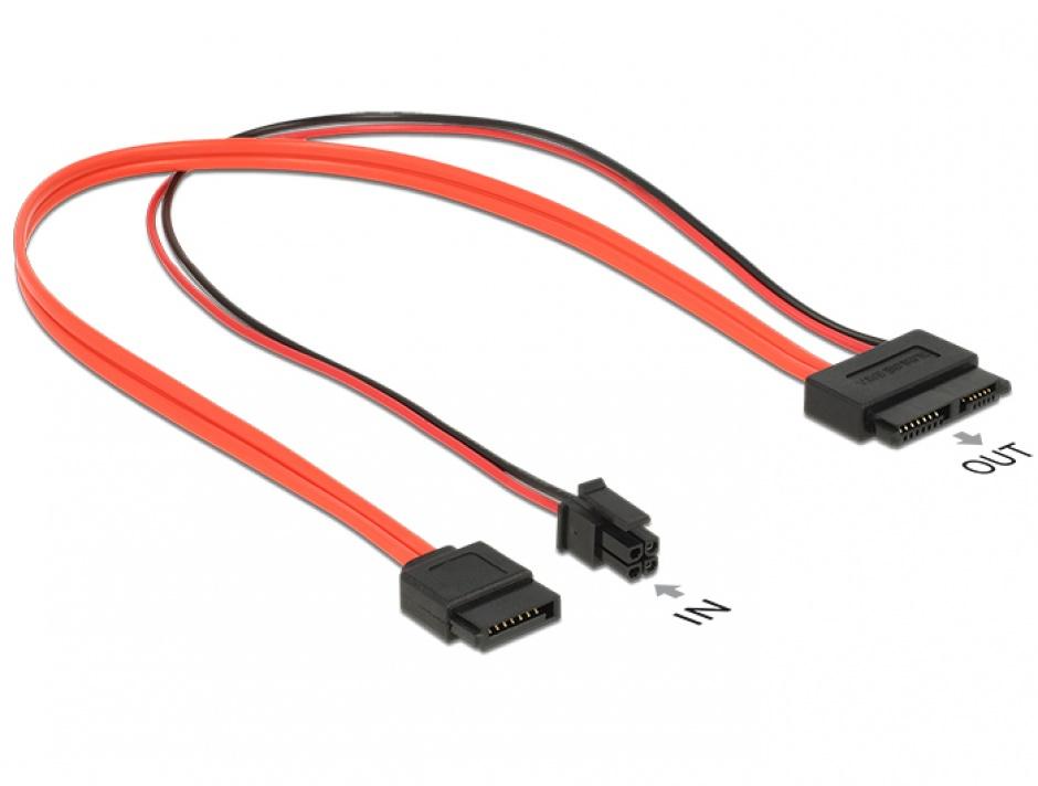 Imagine Cablu Slim SATA 13 pini la SATA III date + alimentare 4 pini 30cm, Delock 84848