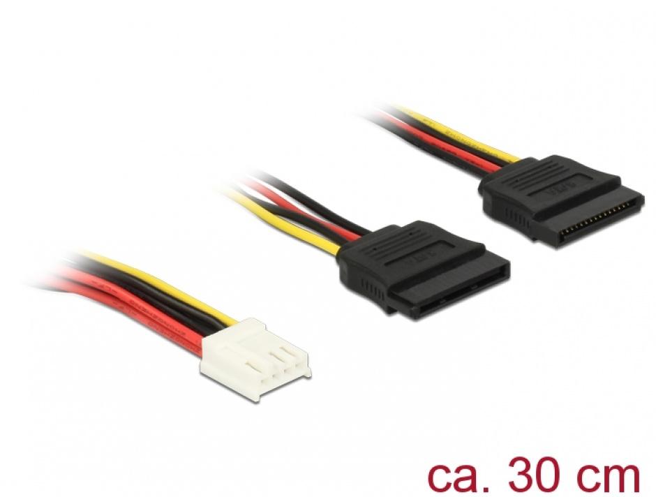 Imagine Cablu de alimentare Floppy 4 pini la 2 x SATA 15 pini 30cm, Delock 84859