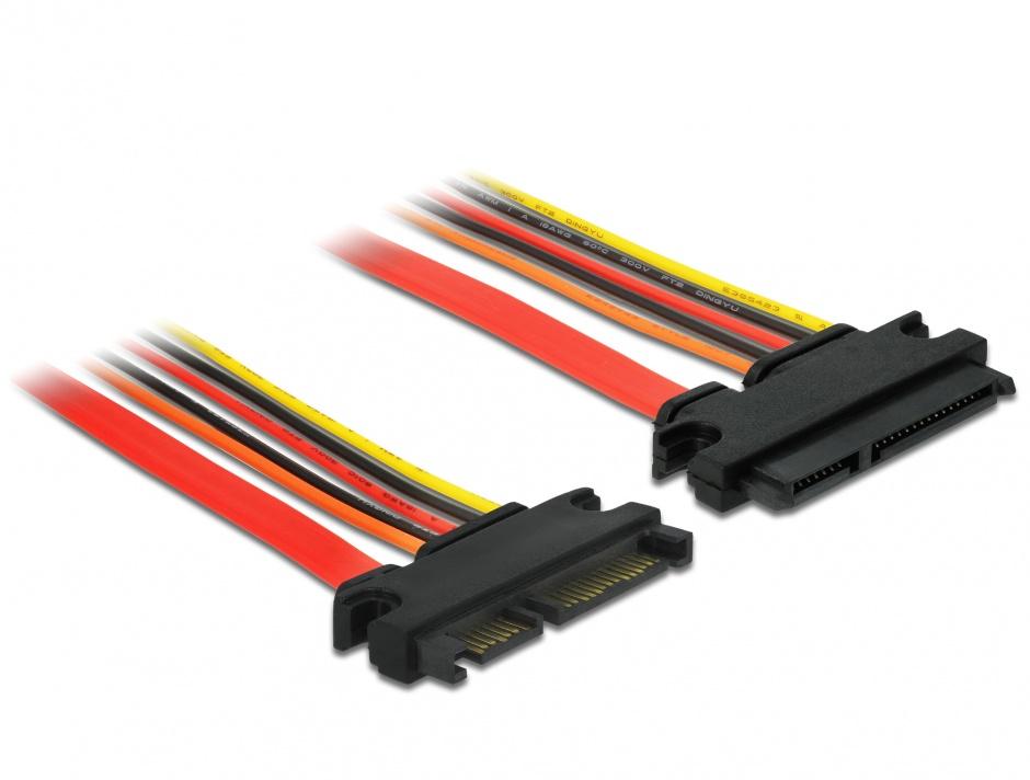 Imagine Cablu prelungitor SATA III 22 pini 6 Gb/s T-M (3.3V+5V+12V) 10cm, Delock 84917