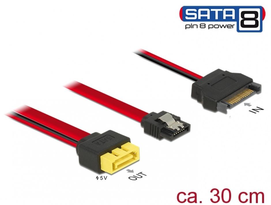 Imagine Cablu SATA 6 Gb/s 7 pini + SATA 15 pini la conector de alimentare 8 pini 0.3m, Delock 84945