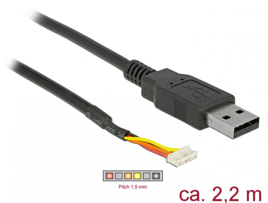 Imagine Cablu USB la Serial TTL 6 Pini WR-WTB 2.2 m 3.3V, Delock 84957