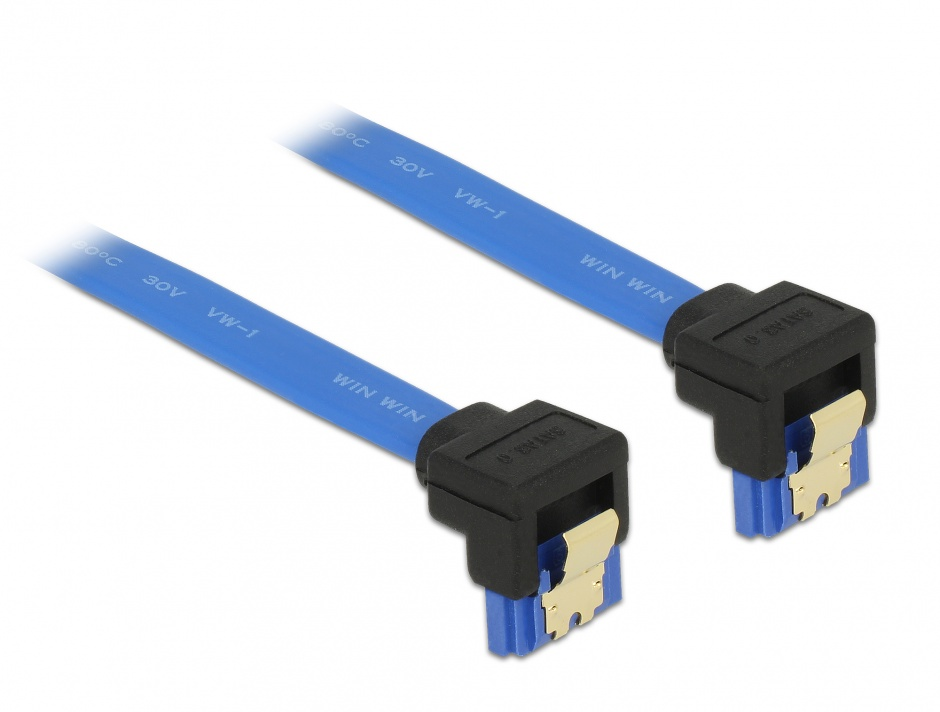Imagine Cablu SATA III 6 Gb/s unghi jos/jos Bleu 20cm, Delock 85095