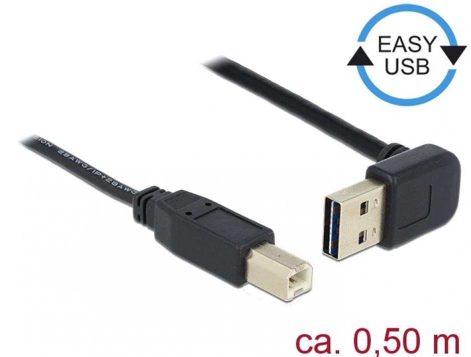 Imagine Cablu EASY-USB 2.0 tip A unghi sus/jos la USB-B T-T 0.5m Negru, Delock 85183