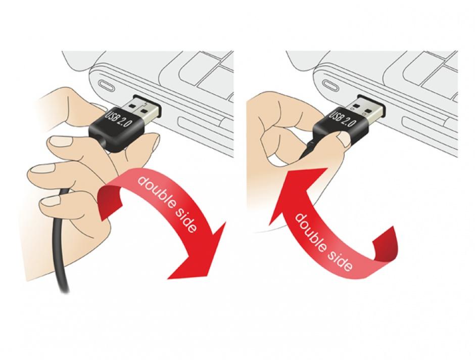 Imagine Cablu prelungitor EASY-USB 2.0 tip A unghi sus/jos T-M 0.5m Alb, Delock 85186