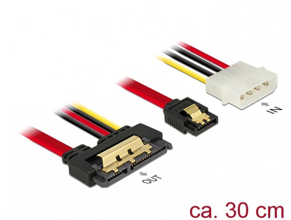 Imagine Cablu de date + alimentare SATA 22 pini 6 Gb/s cu clips la Molex 4 pini + SATA 7 pini 30cm, Delock 85230