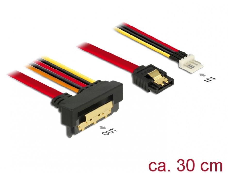 Imagine Cablu de date + alimentare SATA 22 pini 6 Gb/s cu clips la Floppy 4 pini tata + SATA 7 pini unghi jos/drept 30cm, Delock 85233
