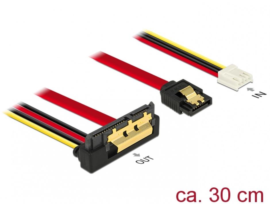 Imagine Cablu de date + alimentare SATA 22 pini 6 Gb/s cu clips la Floppy 4 pini mama + SATA 7 pini unghi jos/drept 30cm, Delock 85235