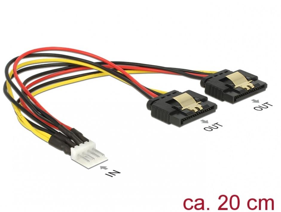 Imagine Cablu de alimentare Floppy 4 pini la 2 x SATA 15 pini T-M 20cm, Delock 85236