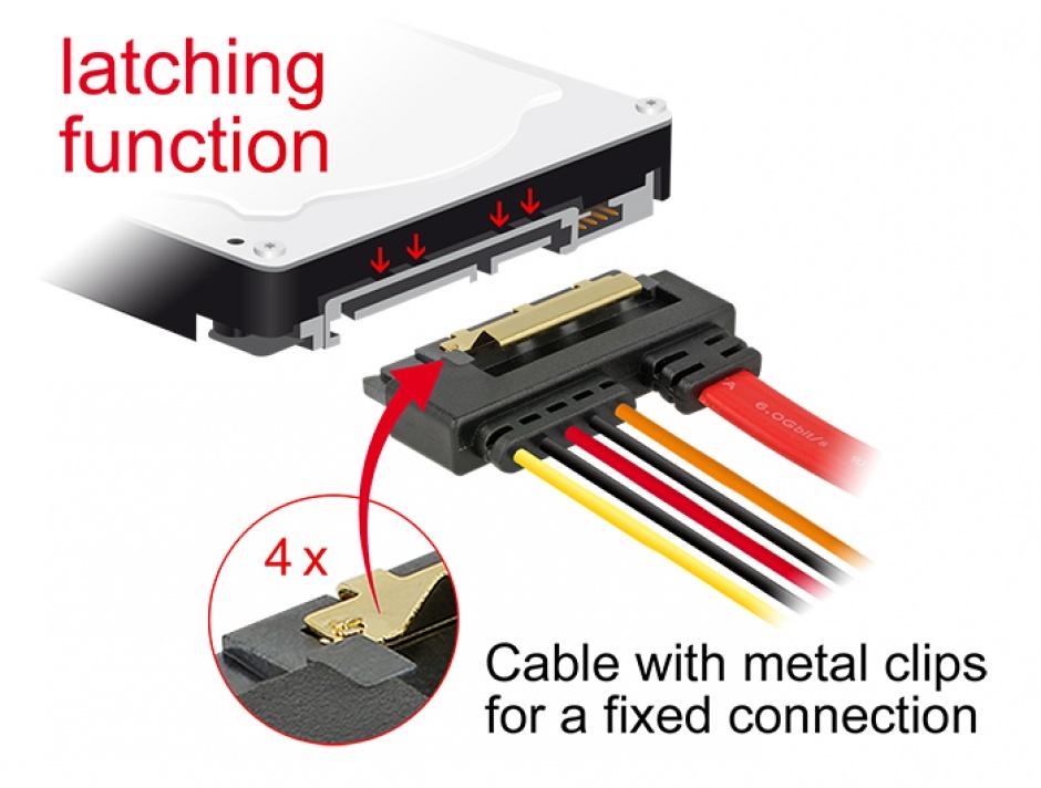 Imagine Cablu de date + alimentare SATA 22 pini 5V 6 Gb/s cu clips la Alimentare 2 pini + SATA 7 pini unghi