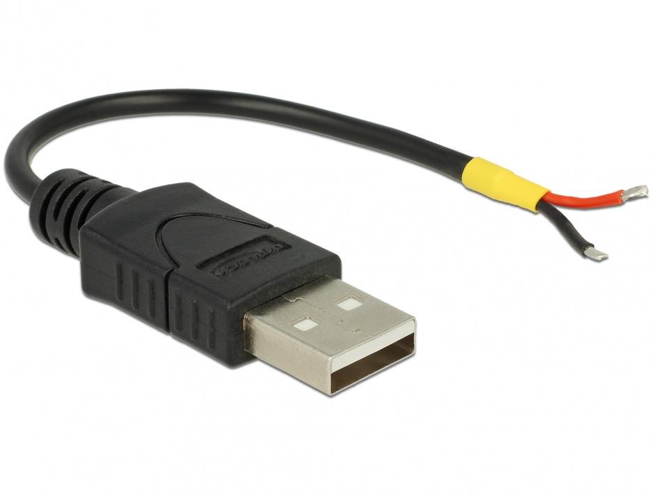Imagine Cablu USB 2.0-A la 2 x fire deschise Raspberry Pi 10cm, Delock 85250