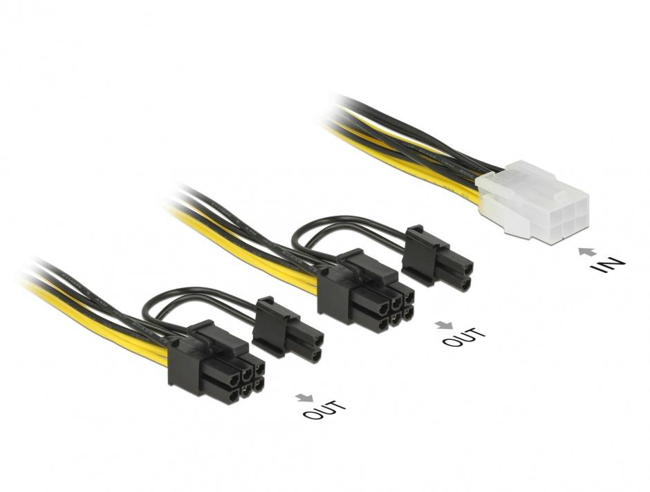 Imagine Cablu PCI Express 6 pini la 2 x 8 pini M-T 15cm, Delock 85452