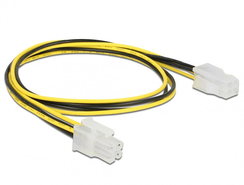 Imagine Cablu prelungitor alimentare P4 4 pini T-M 50cm, Delock 85458