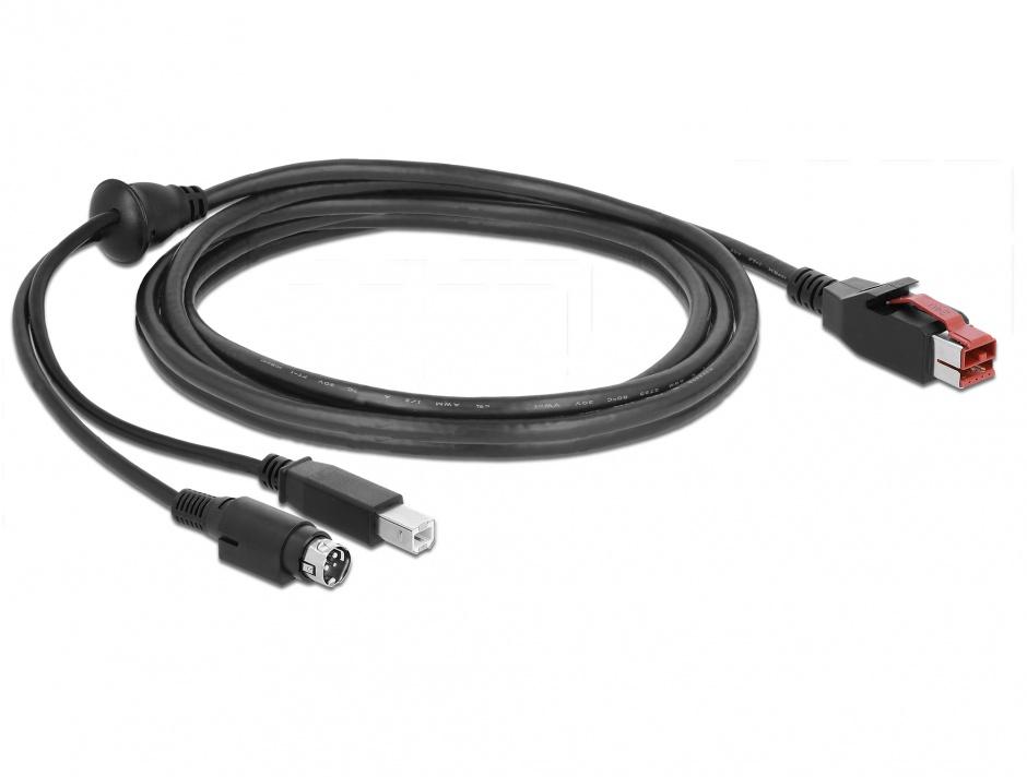 Imagine Cablu PoweredUSB 24V la USB-B + Hosiden Mini-DIN 3 pini 3m pentru POS/terminale, Delock 85489