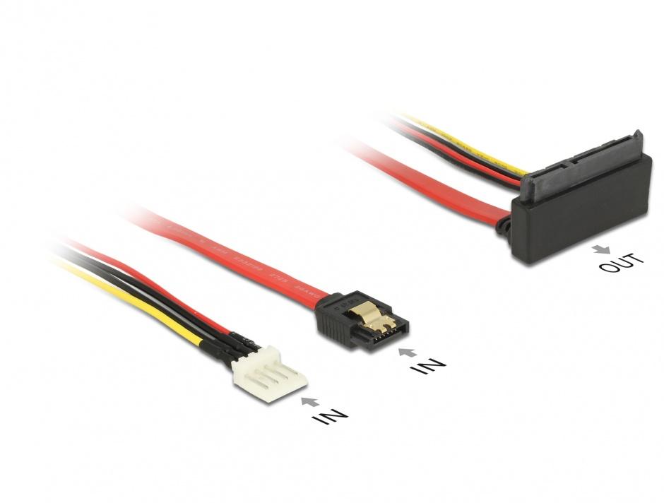 Imagine Cablu SATA III 6 Gb/s + alimentare Floppy 4 pini la SATA 22 pini unghi sus 30cm, Delock 85518