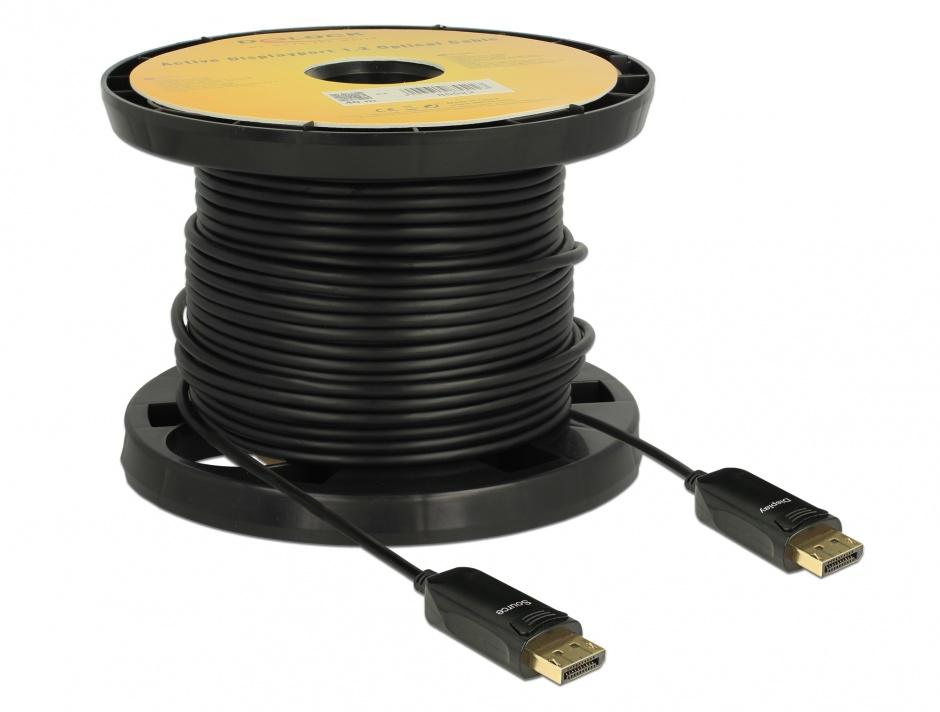 Imagine Cablu activ optic DisplayPort 1.2 T-T 4K 60Hz 40m Negru, Delock 85522