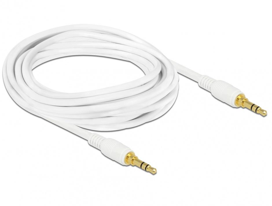 Imagine Cablu stereo jack 3.5mm 3 pini (pentru smartphone cu husa) Alb T-T 3m, Delock 85552
