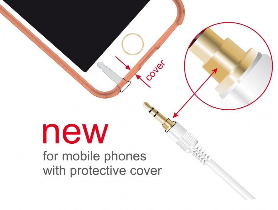 Imagine Cablu Stereo Jack 3.5 mm 3 pini (pentru smartphone cu husa) unghi 0.5m T-T alb, Delock 85565