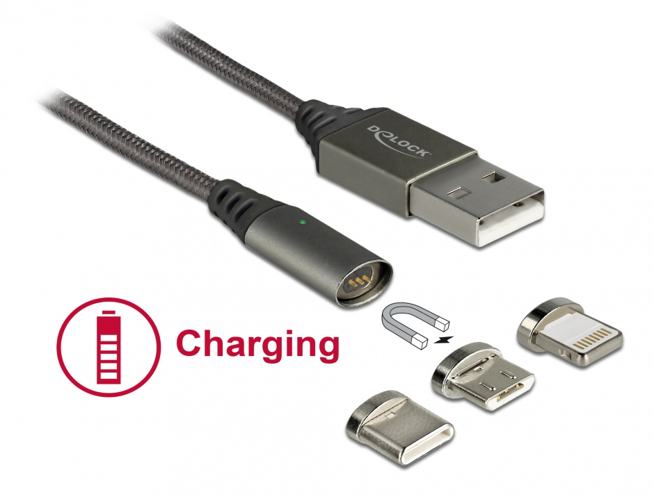 Imagine Cablu de incarcare magnetic USB la iPhone Lightning 8 pini / Micro USB / USB- C antracit 1m, Delock 85705