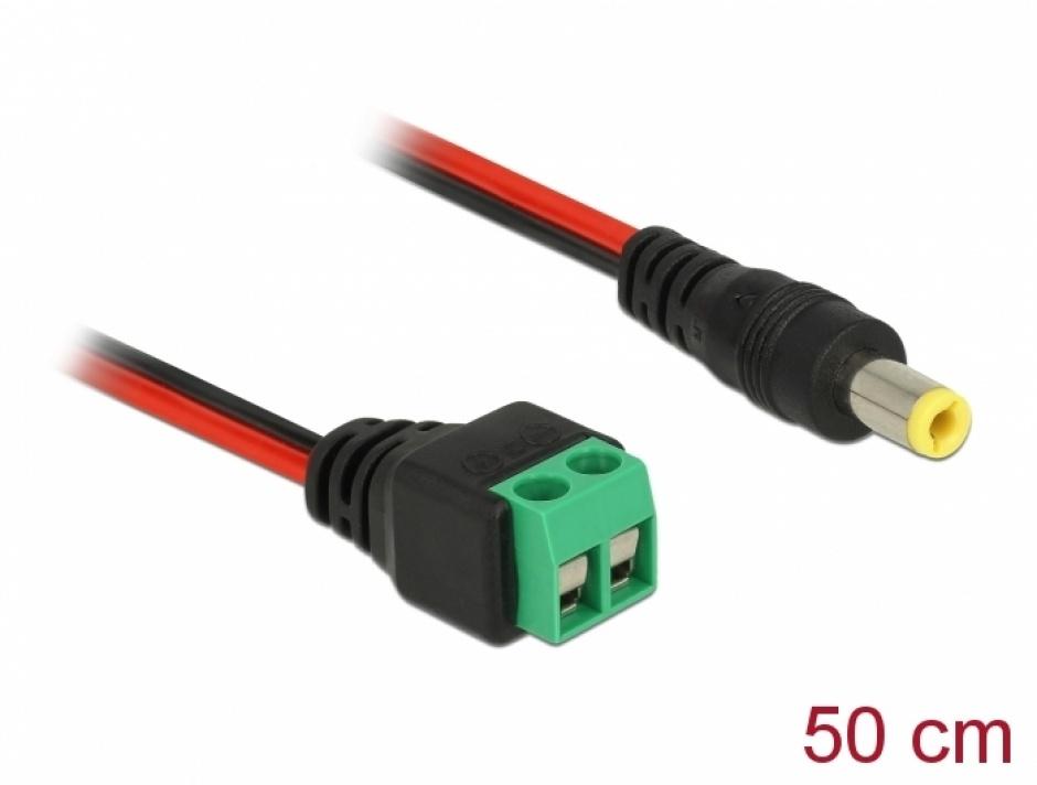 Imagine Cablu de alimentare DC 5.5 x 2.5 mm la bloc terminal 2 pini 50cm, Delock 85708