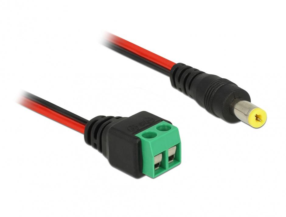 Imagine Cablu de alimentare DC 5.5 x 2.1 mm la bloc terminal 2 pini 15cm, Delock 85712