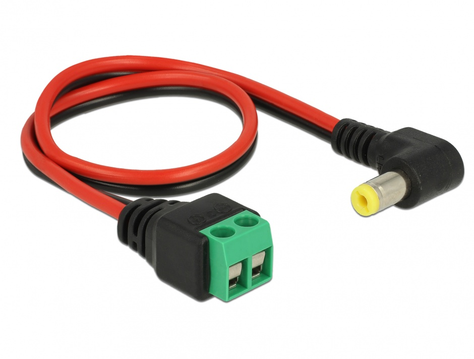 Imagine Cablu de alimentare DC 5.5 x 2.1 mm unghi 90 grade la bloc terminal 2 pini 30cm, Delock 85716