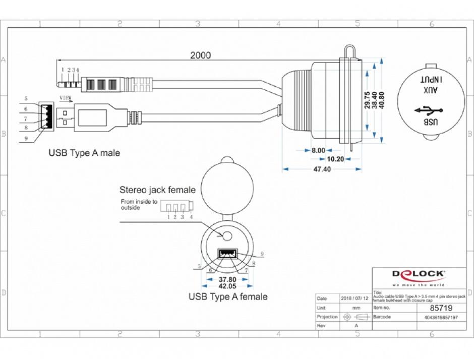 Imagine Cablu auto USB + jack stereo 3.5 mm 4 pini la USB + jack stereo 3.5 mm 4 pini (audio) T-M 2m Negru,
