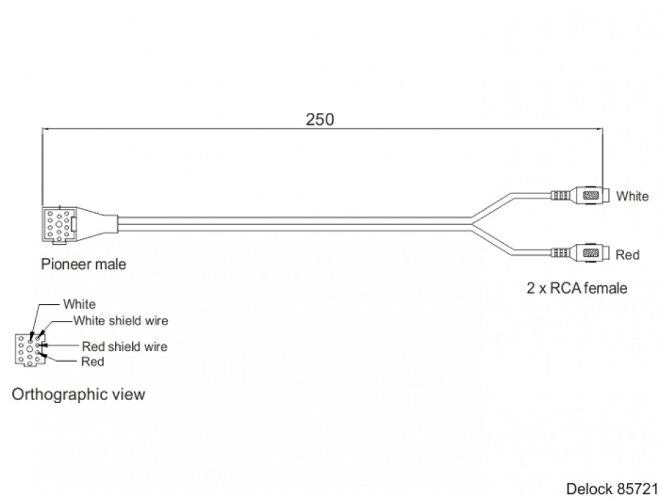 Imagine Cablu audio Pioneer la 2 x RCA rosu\alb T-M 25cm, Delock 85721