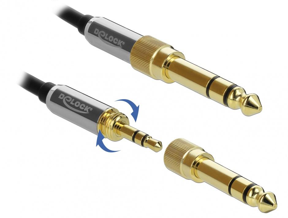 Imagine Cablu spiralat jack stereo 3.5mm 3 pini T-T + adaptor 6.35mm 5m, Delock 85839