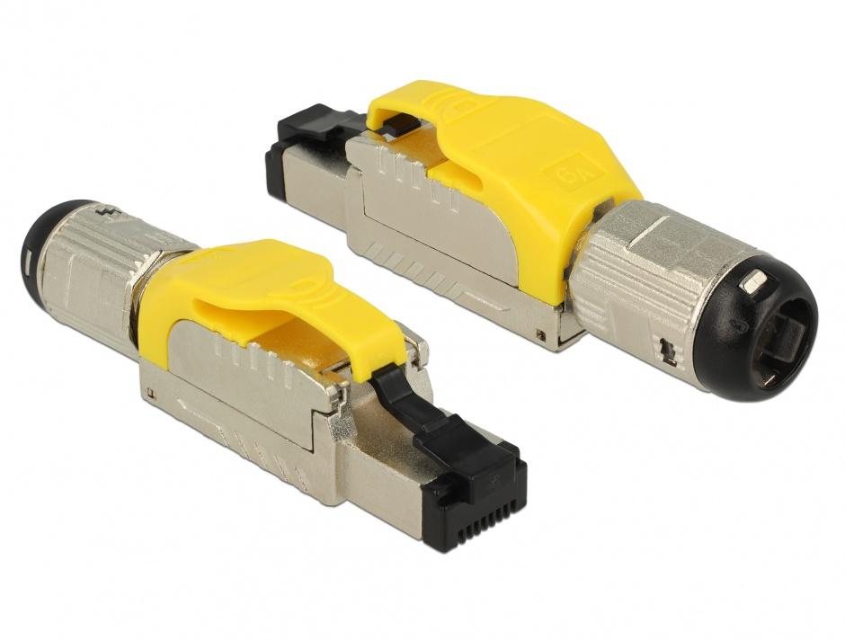 Imagine Conector de ansamblat RJ45 cat 6A pentru fir solid metal, Delock 86287