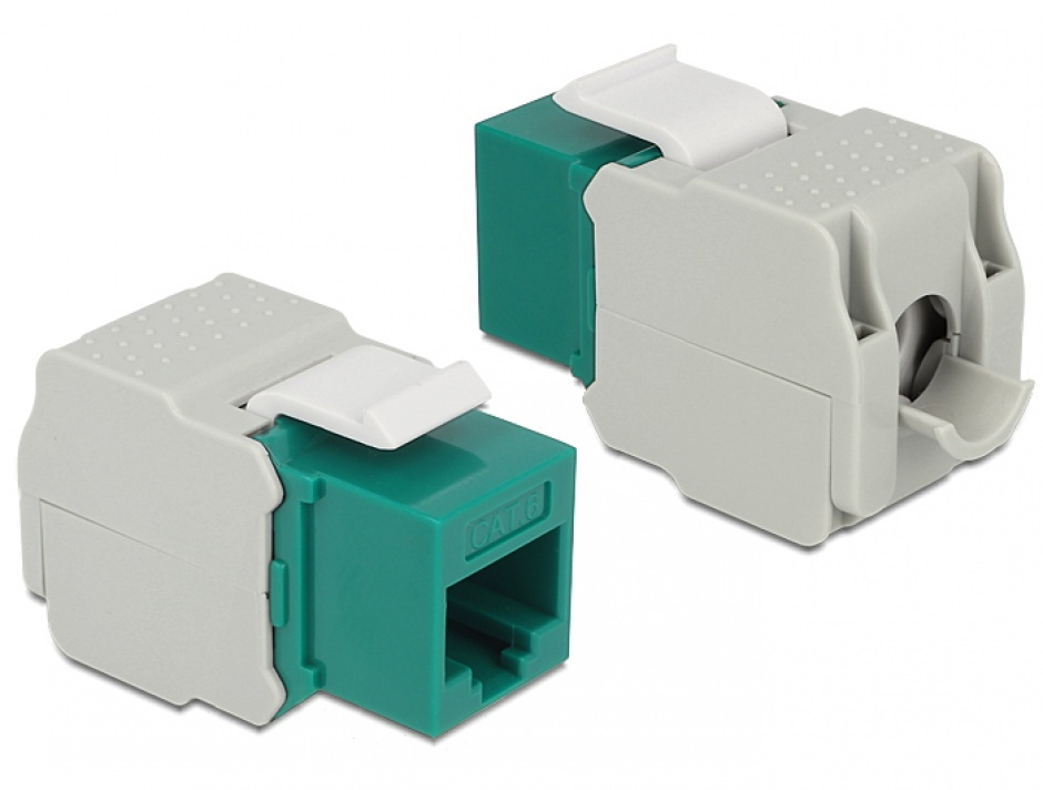 Imagine Modul Keystone RJ45 la LSA Cat.6 UTP Verde, Delock 86349