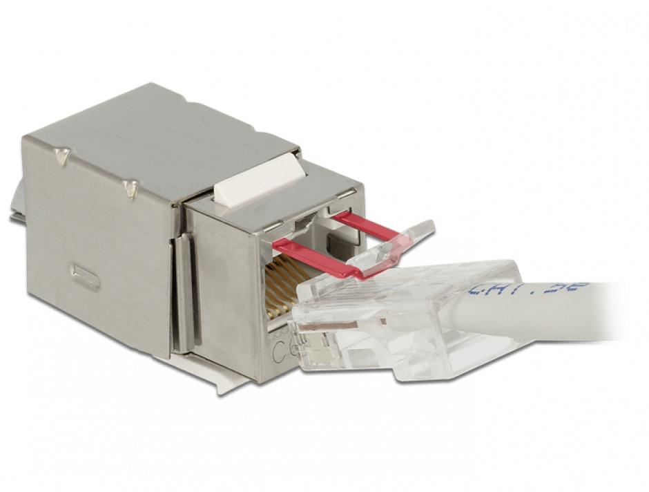 Imagine Modul Keystone RJ45 Securizat ecranat Cat.6 > LSA, Delock 86404