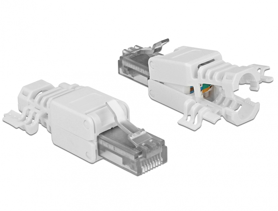 Imagine Set 2 bucati conector RJ45 Cat.6A pentru fir solid UTP toolfree, Delock 86417