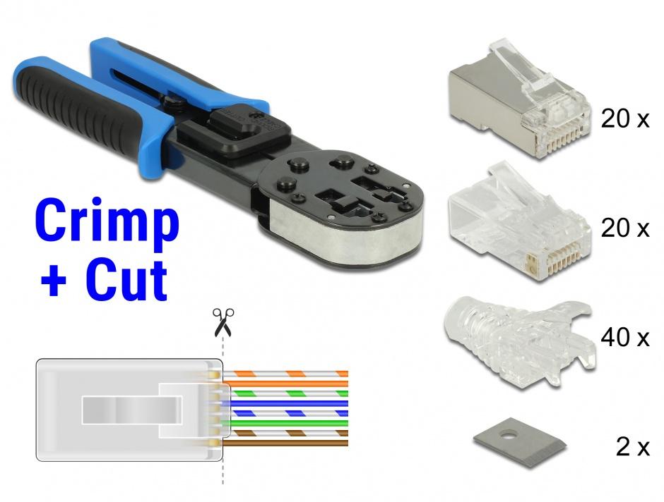 Imagine Set Cleste de sertizare RJ45 / RJ12 + accesorii Crimp+Cut, Delock 86450