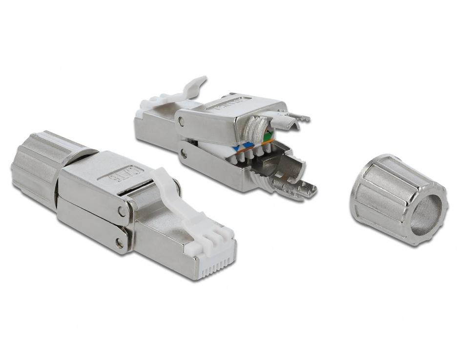 Imagine Conector de retea RJ45 cat.6 STP toolfree, Delock 86476