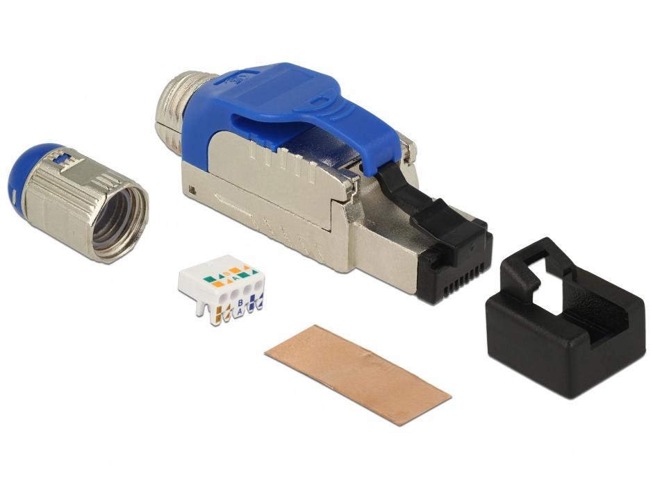 Imagine Conector de asamblat RJ45 Cat 8 pentru fir solid metalic, Delock 86487