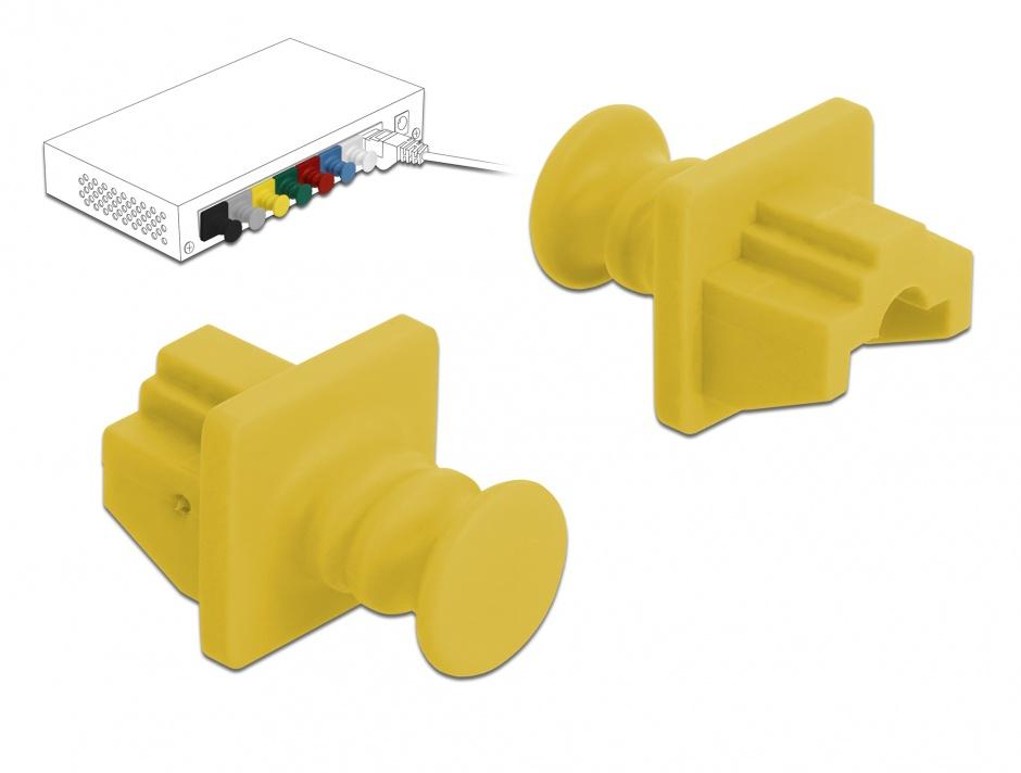 Imagine Set 10 buc protectie impotriva prafului pentru RJ45 Galben, Delock 86511
