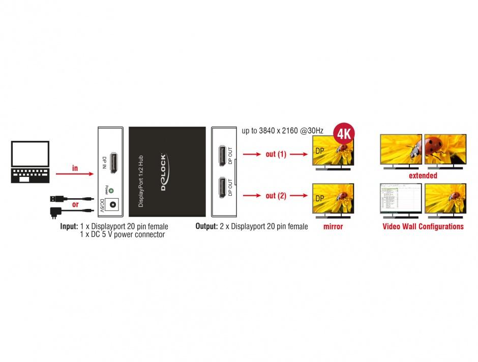 Imagine Multiplicator 2 porturi Displayport 4K, Delock 87691