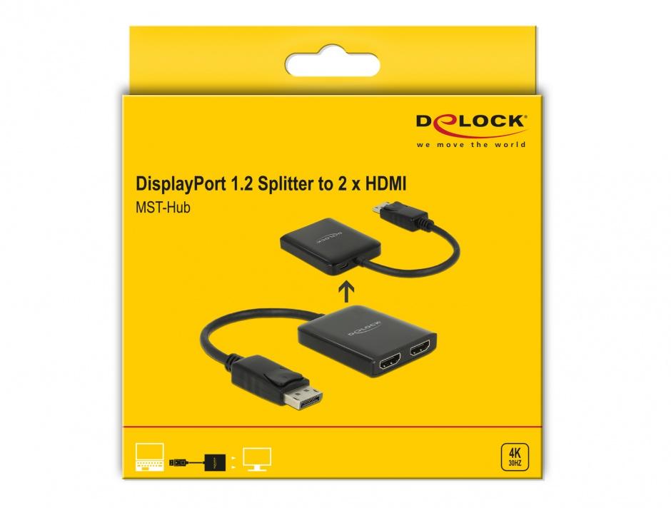 Imagine Multiplicator Displayport 1.2 la 2 x HDMI 4K 30Hz, Delock 87720