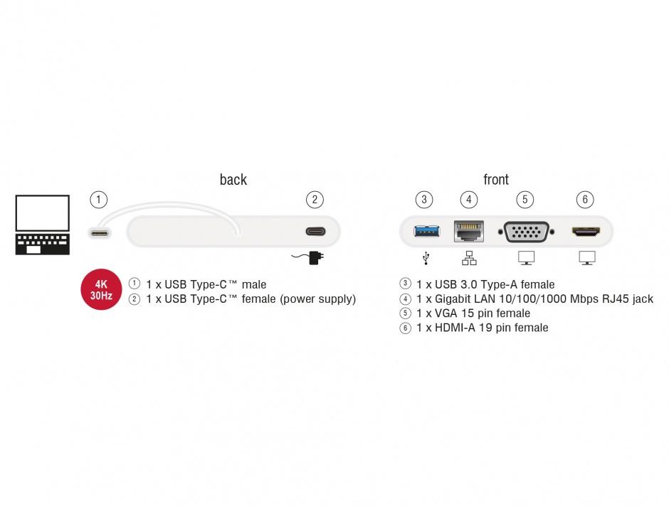 Imagine Docking Station USB-C 3.1 la HDMI 4K 30 Hz + VGA + LAN + USB PD, Delock 87731