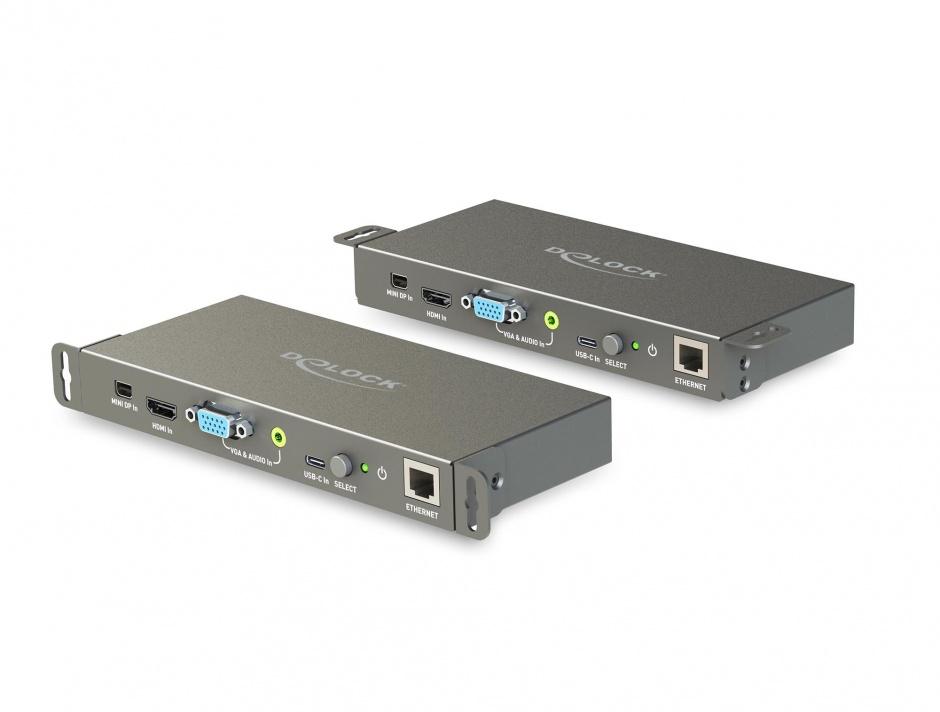 Imagine Convertor Multi audio-video (Mini Displayport, HDMI, VGA) la HDMI 4K 60Hz, Delock 87732