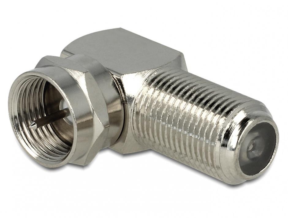 Imagine Adaptor F Jack la F Plug unghi 90 grade, Delock 88880