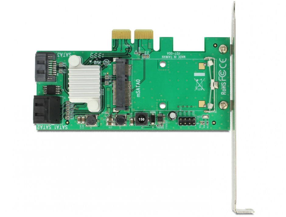 Imagine PCI Express cu 3x SATA 6 Gb/s Hybrid + 1x mSATA, Delock 89371