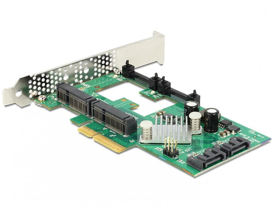 Imagine PCI Express cu 2x SATA 6 Gb/s Hybrid + 2x mSATA, Delock 89372
