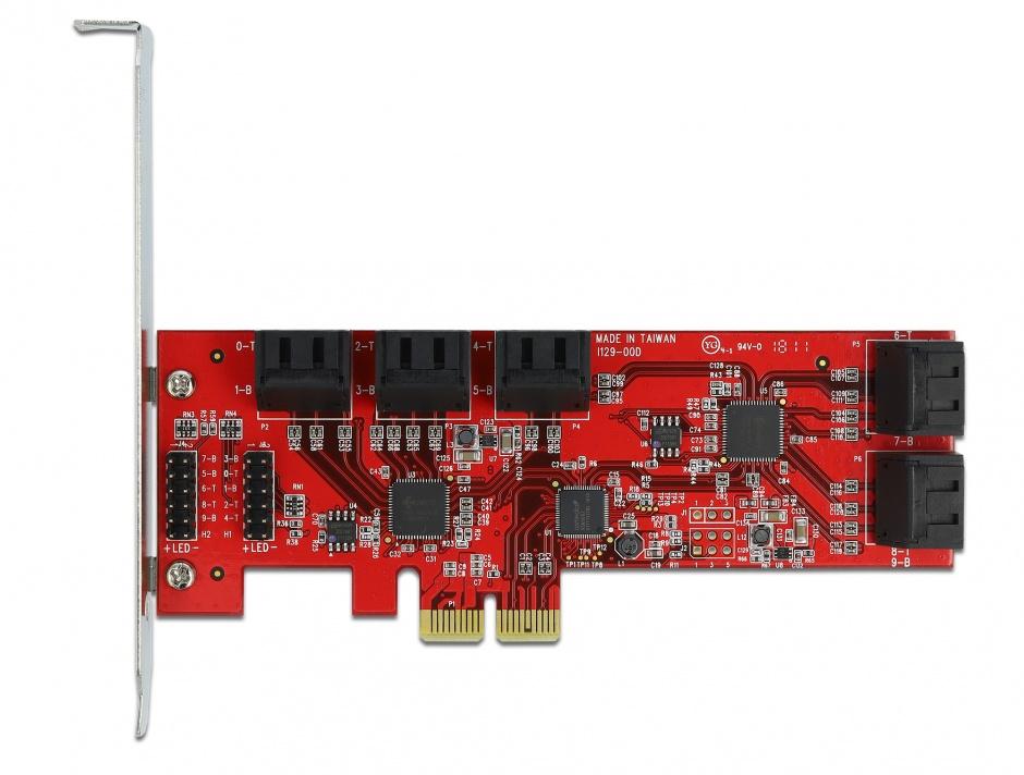 Imagine PCI Express cu 10 porturi SATA 6 Gb/s interne, Delock 89384