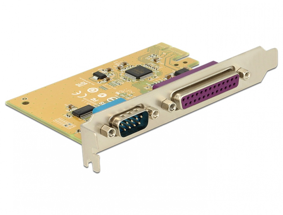 Imagine PCI Express cu 1 port serial RS232 + 1 x paralel DB25, Delock 89446