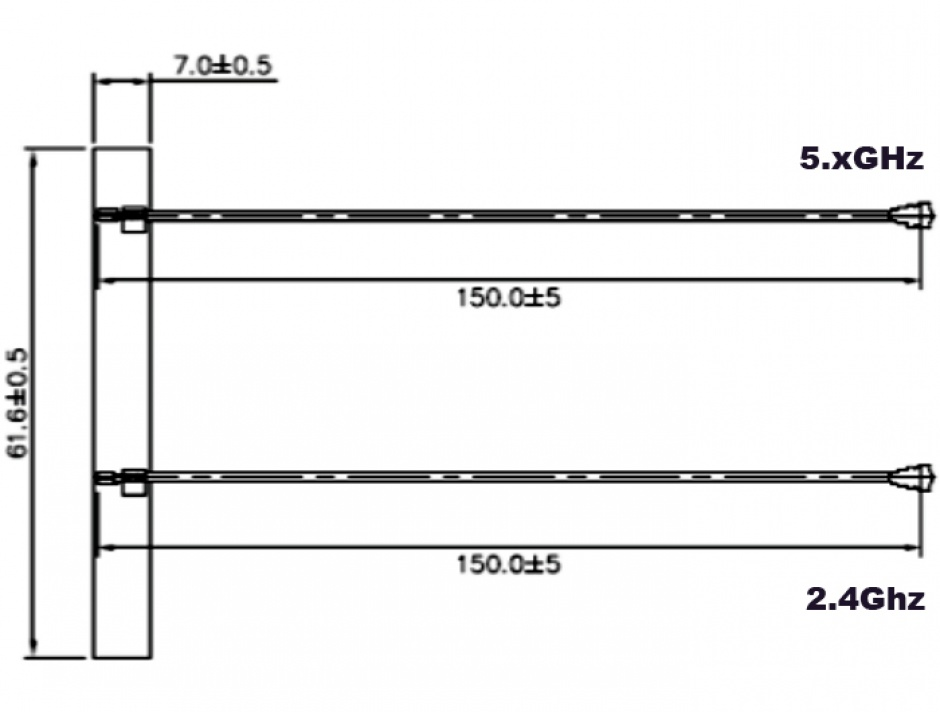 Imagine Antena WLAN Twin 2 x MHF IV / HSC MXHP32 802.11 ac/a/h/b/g/n 5 dBi, Delock 89571